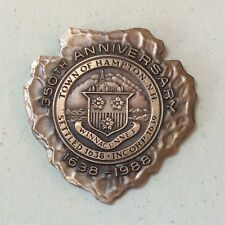 Vintage TOWN OF HAMPTON, NH 350th Anniversary Medal 1988 BRONZE Arrowhead Token