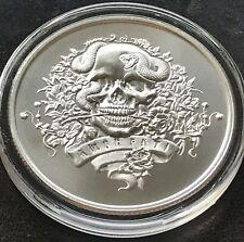 New Latin Allure Amor Fati 1 oz 39mm 999 Silver Skull New Horsemen Snake
