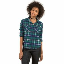 2017 NWT WOMENS VOLCOM NEW FLAME LONG SLEEVE FLANNEL TOP $50 S  midnight green
