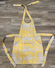 Williams Sonoma The Juliette Yellow Toile Print Apron With Pockets & Storage Bag