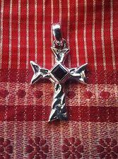282 Celtic Cross pendant Garnet gem solid 925 Sterling Silver rrp$39.99