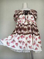 351.LIZ LISA Japanesebrand floral pattern white cottoncady lace-up winter dress