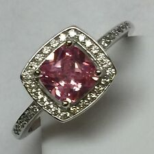Princess cut 2ct Pink Sapphire White Sapphire 925 Solid Sterling Silver Ring 9