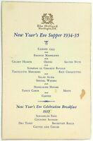 1934 1935 NEW YEAR'S EVE Dinner Breakfast Menu Willard Hotel Washington DC