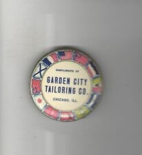 1918 WWI HOMEFRONT pocket mirror Garden City TAILORING Co Tailor CHICAGO