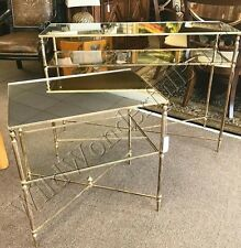 Mirror Top Side Table Antique Gold Iron End Glass Accent Neiman Marcus New