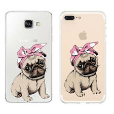 For iPhone Huawei Samsung Funny Dog Puppy Pug French Bulldog Soft Case Cover