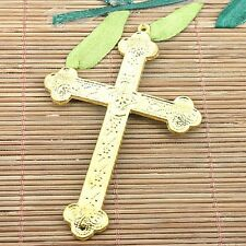 2pcs gold tone big 2sided textured cross pendant  H1122