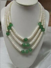 Charming !3 Row 7-8mm white pearl green jade necklace