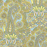 Cotton 100% Satin weave Bedding Covering Fabric Antoque Paisley Olive Green 44'w