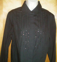 NWT womens L size 12 black l/s AMANDA SMITH sequin embellished shirt blouse