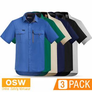 3 x Mens RIPSTOP 100gsm Short Sleeve WORK Shirt Black Navy Green Blue Stone Sand