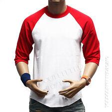 Men's 3/4 Sleeve Baseball T- Shirt Raglan Tee Jersey Lot Plain Fashion Crew Neck