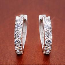 Elegant CZ Hoop Ear Studs Women's Fashion Silver Plated Earrings Jewelry