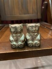 Vintage Davco Silver Ltd Bear In BowTie Silver Plated Salt And Pepper Shaker Set