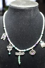 CAROLYN POLLACK RELIOS 925 PEARL MULTI STONE 5 CHARM NECKLACE