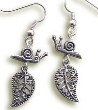 Gardeners earrings - silver snail on leaf Gardening Jewellery (F1)