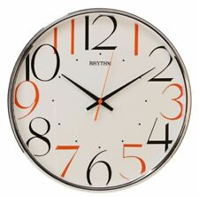 RHYTHM Coloured Numbers Silent Sweep Wall Clock