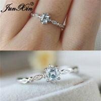 Simple Princess Cut Aquamarine CZ Promise Wedding Ring 925 Silver Womens Jewelry