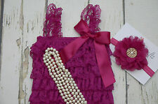 Fuchsia lace romper headband and pearl Necklace set (12 - 24 months)