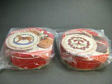 Lot of 2 New Cross Stitch Kits CHRISTMAS TINS Decorative Tops  Gift Giving Idea!