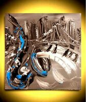 JAZZ CITY MUSIC ART  Large Abstract Modern Original Oil Painting RTYJRTY
