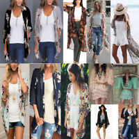 Fashion Womens Chiffon Loose Shawl Kimono Cardigan Top Cover Up Blouse Beachwear