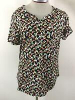 Christopher Banks knit top size XL toucan bird pattern short sleeve green black