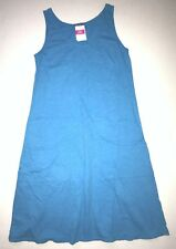FRESH PRODUCE Medium MARINA Blue Slub Cotton Drape Tank Dress NWT New M