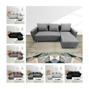 L Corner Sofa Bed with Underneath Storage in Grey, Brown, Black, Brown