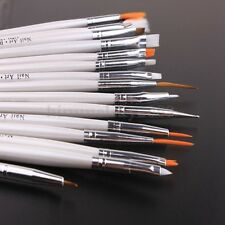 15tlg. Nail Art Pinseln Gelpinsel Acryl Pinsel Weiss Bürste tools Fingernägel