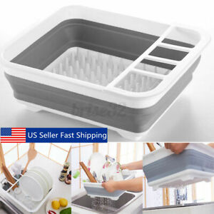 "14"" Dish Rack Collapsible Drying Drainer Kitchen Foldable Folding Plate Storage"
