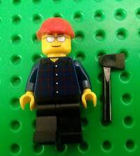 *NEW* Lego Lumber Jack Mini Figure Person Man Fig w Black Axe Red Hard Hat x 1