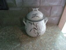 T & R Boote Summer Time Vintage Black Transferware Container With Cover