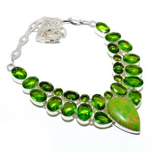 """Copper Green Turquoise & Peridot 925 Sterling Silver Necklace 17.99"""" S2654"""