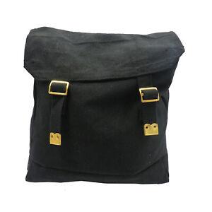 WP7 Black Canvas Backpack Webbing Bag 70's/80's Retro School Bag