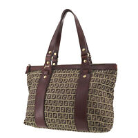 FENDI Zucca Pattern Tote Hand Bag Beige Brown Canvas Vintage Authentic #TT973 O