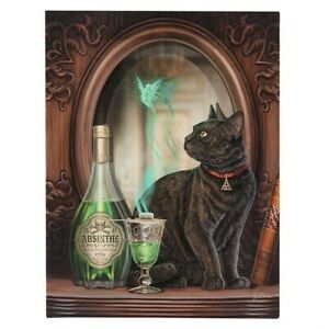 ABSINTHE LISA PARKER SMALL CANVAS PICTURE ART GOTH BLACK CAT FAIRY DRINK BOTTLE