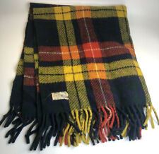 Vintage Curvon 100% Wool Tartan Plaid Red Yellow Orange Lap Blanket Fringed
