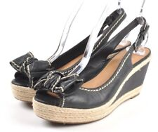 Franco Sarto Olympia Black Leather Bow Espadrille Wedge Slingback, Womens US 8 M