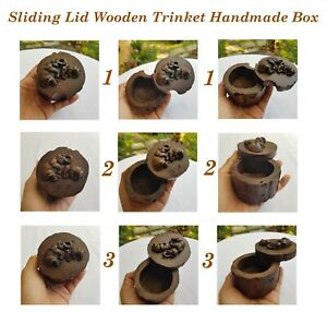 Trinket Wooden Box Teak Wood Sliding Lid Unique Handmade Jewelry Wedding Ring