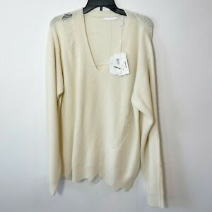 Helmut Lang Womens Distressed V-Neck Sweater White M Oversized Ribbed Knit NWT