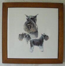 Schnauzer Tile Trivet Framed Wall Hanging Dog Glazed Ceramic Art Tile Trivet