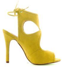 CR Drew-10 Open Toe Faux Suede Stiletto Heel Lace Back Ankle Bootie Shoe Yellow