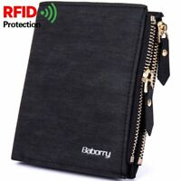 Mens RFID Blocking Wallet Credit Card Holder Luxury Purse Money Coin Clip Zipper