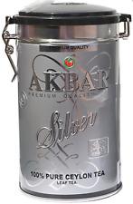 Akbar Silver 100% Pure Ceylon Tea Collectible Metal TIN 450g