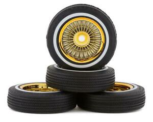 Redcat SixtyFour Whitewall Low Pro Tires & Wheels w/Wheel Nuts (Gold) [RER14434]