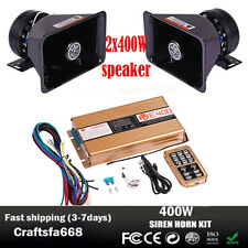 400W 8Sound Loud Car Warning Alarm Police Fire Siren Horn PA Speaker System Safe