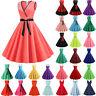 Womens Sleeveless 50s 60s Vintage Rockabilly Swing Dress Evening Party Dresses