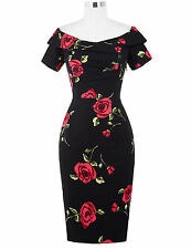WOMENS VINTAGE 1950'S PIN UP OFFICE WIGGLE COCKTAIL PARTY PENCIL DRESS SIZE 4-18